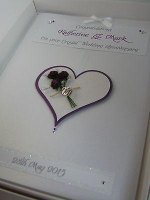 Personalised 15th Crystal Wedding Anniversary Card boxed Swarovski crystals