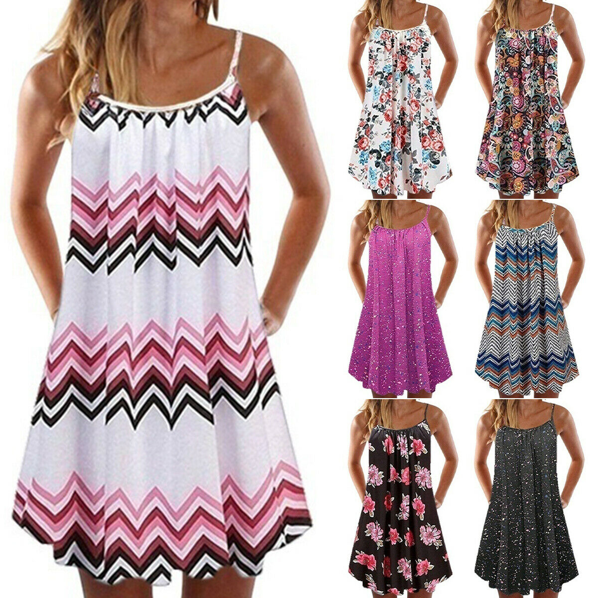 details zu damen boho minikleid sommer kleid baggy strandkleid lose  Ärmellos trägerkleid de