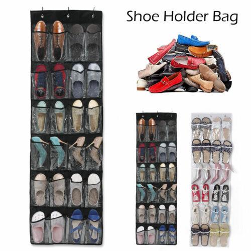 Hanging Shoe Storage 24 Pockets Over Door Bag Box Rack Hanger Tidy Closet Holder