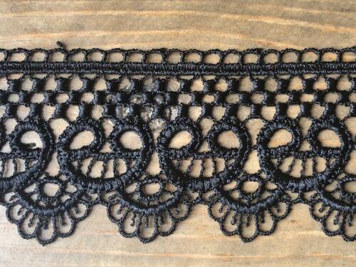 """laverslace Unique Quality Black Guipure Lace Trim 2/""""//5cm PER METRE Goth Sewing"""