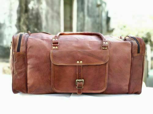 Bag Leather Travel Duffle Gym Weekend Overnight Luggage Holdall Large New Gift
