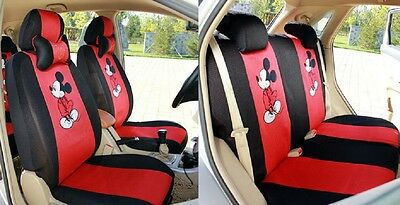 New Anime  Mouse Car Seat Covers Accessories Set 12PCS Red+Black