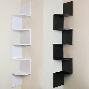 5 tier black wall mounted zigzag corner floating shelves shelf rh ebay co uk Cat Wall Shelves Cat Wall Shelves