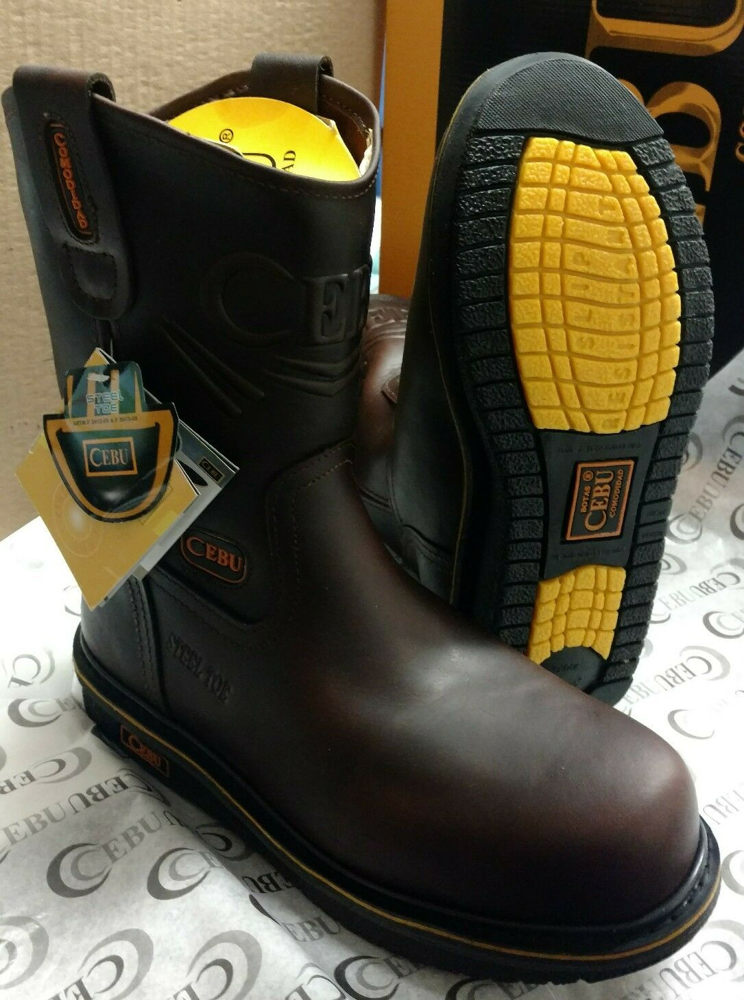 Cebu Comfort Mens Leather Steel Toe Work Safety Boots Slip Oil Resistant Brown