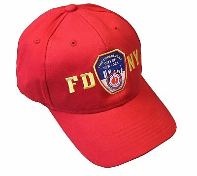 FDNY Junior Kids Baseball Hat Fire Department New York Red One Size Boys Girls