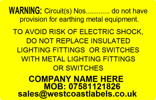 Personalised Free EARTHING CIRCUIT Electrical Safety Warning Labels