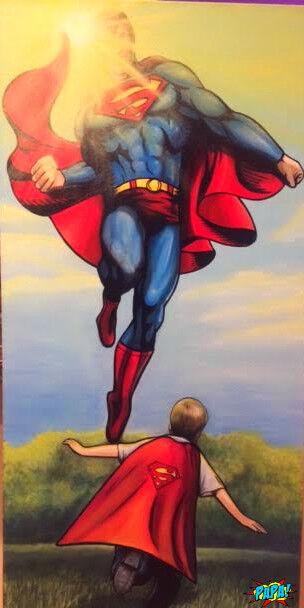Kid jugando Superman Pintura-Papa Arte Gallery