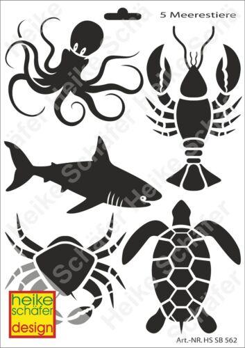 Galería de símbolos-stencil a4 116-0562 5-animales marinos-nuevo-heike Schäfer Design