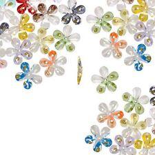 24 Big 30mm Assorted Plastic Acrylic Center Hole Flower Beads W/ Gold Glitter