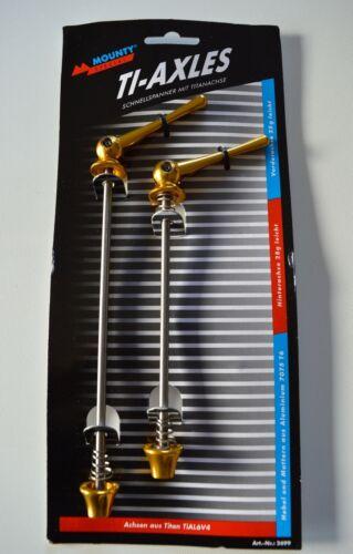 MOUNTY Ti-Axles Schnellspanner mit Titanachse titan schwarz rot gold blau