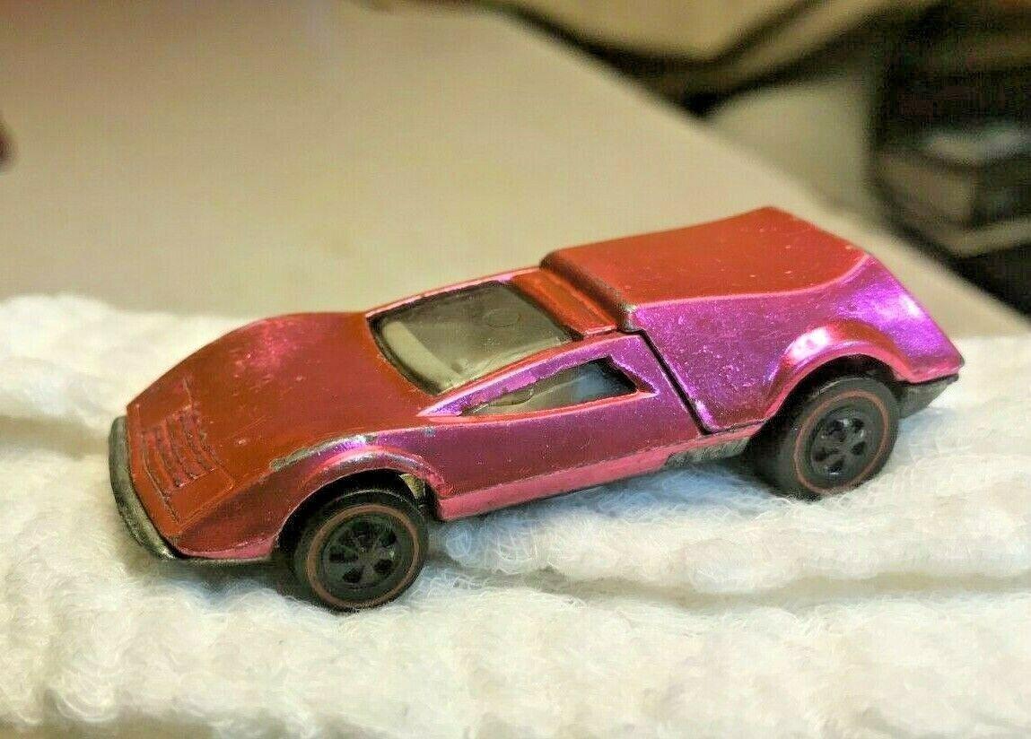 Mattel Hot Wtalons rougeline Tri-   voiture rose w  blanc Int rouge lines '69 us base  dégagement