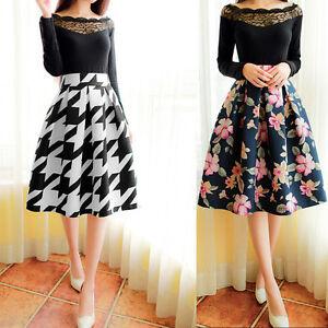 Women-High-Waist-Flared-Skater-Pleated-A-Line-Midi-Dress-Full-Circle-Skirt-AU