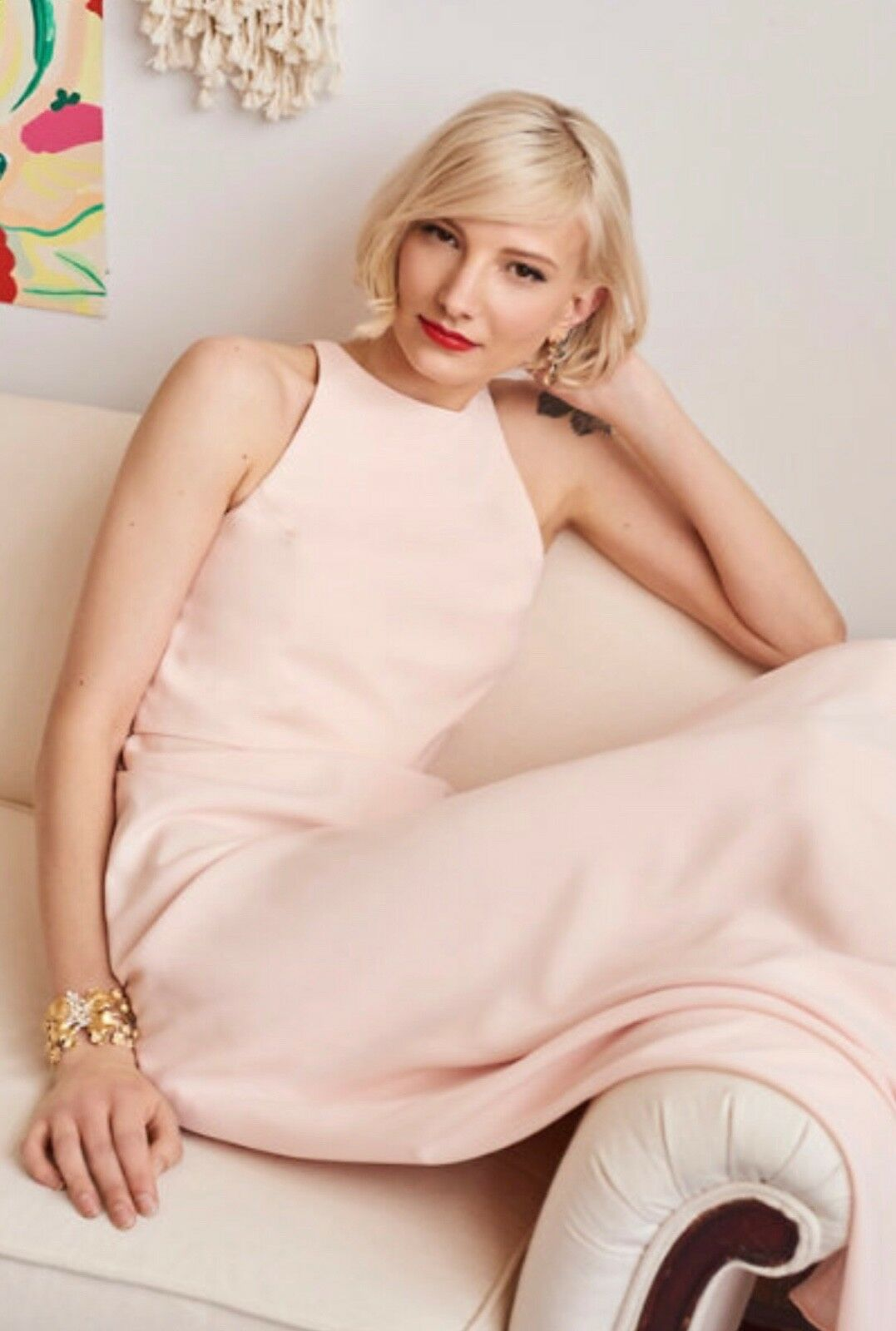 NWT  BHLDN Jill Stuart Iva Crepe Maxi Dress Größe 14 Rosa Powder