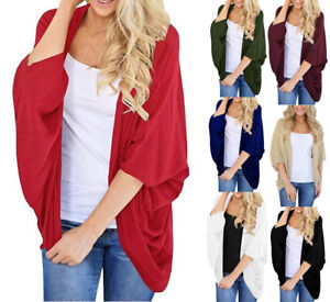 642db17b740d3 UK Plus Size Womens Batwing Sleeve chiffon Kimono Cardigan Summer ...