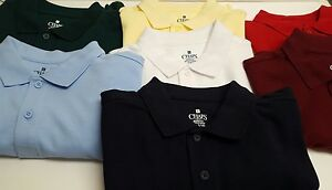 NWT-Chaps-Boys-8-20-Short-Sleeve-Solid-Polo-Shirt-Approved-Schoolwear