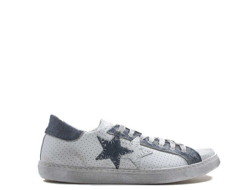 shoes 2 Star Mens Sneakers Trendy White Natural Leather 2su1822bs