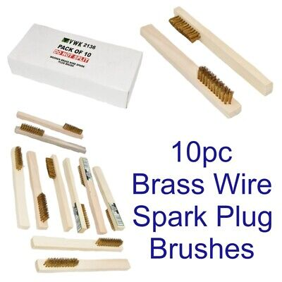 Spark Plug Electrical Terminal Brass Wooden Brush Cleaner Cleaning 10 Pack 2136