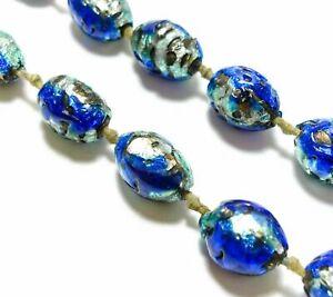 Antique Art Deco Edwardian Venetian Foil Glass Beads Necklace Azure Aqua Blue Ebay