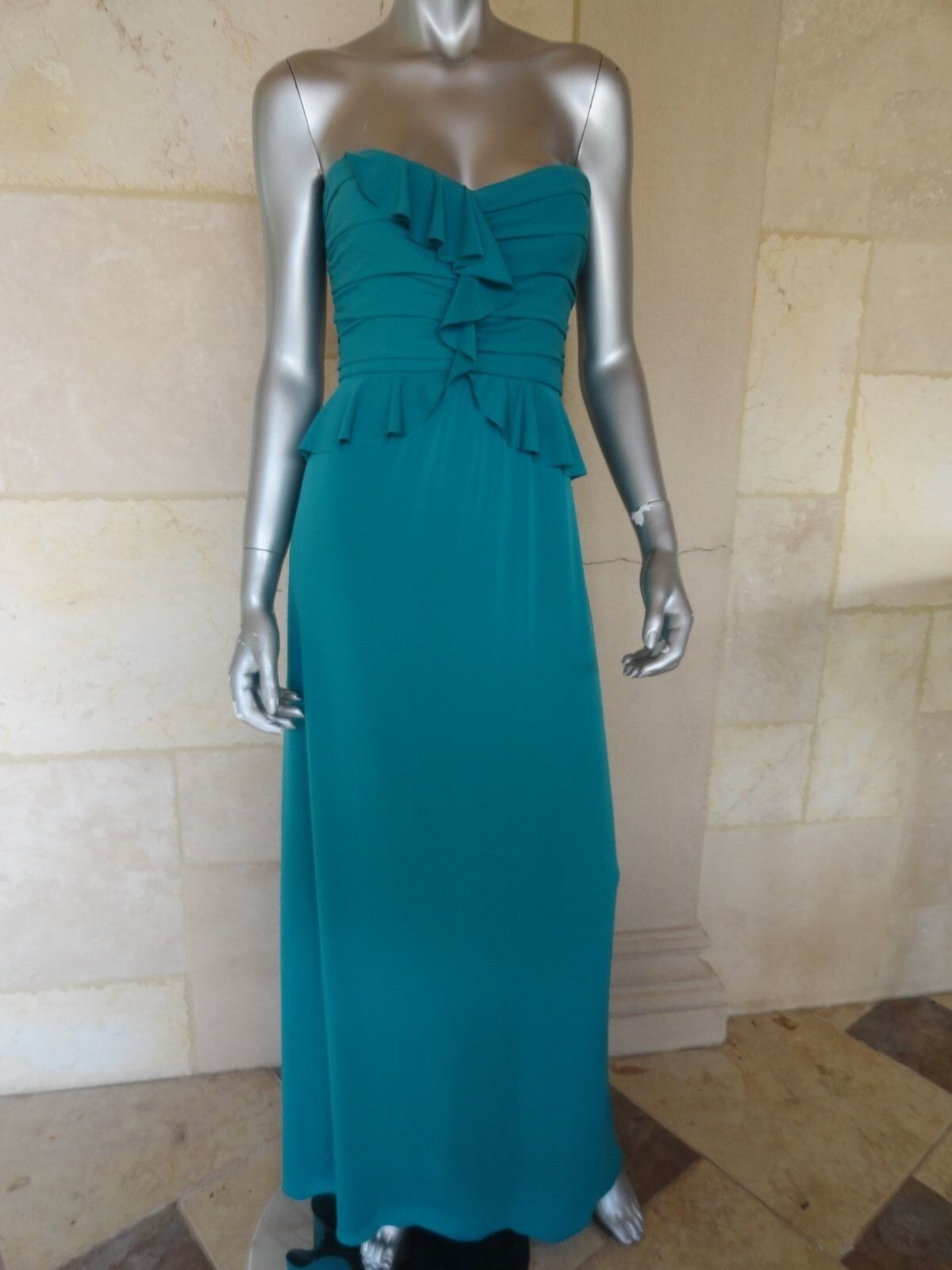 280 Amsale Green Matte Strapless Full Length Formal Evening Gown Dress Sz 8 NWT
