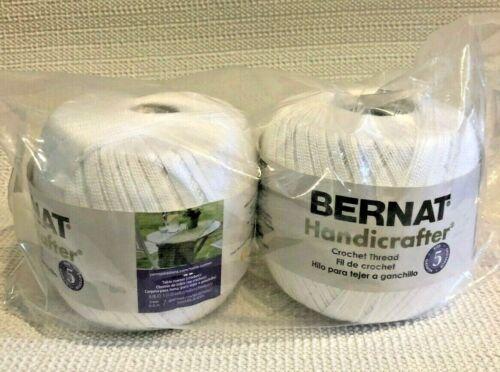 BERNAT HANDICRAFTER CROCHET THREAD Bright White Lot of 2