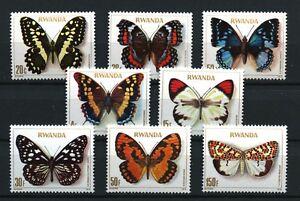 Butterflies-mnh-set-of-8-stamps-1979-Rwanda-905-12