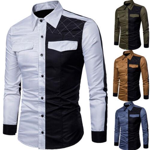Fashion Men/'s Slim Fit Casual Shirt Luxury Men Collar Cotton Dress Shirts Tops