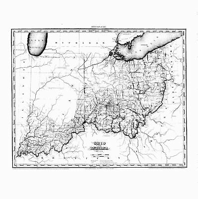 1819 OH MAP OHIO Kent Muskingum Miami River Germantown Pierpont Hicksville HUGE