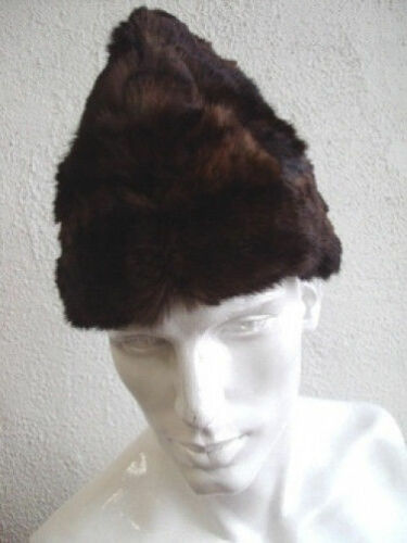 """NEW BROWN MUSKRAT FUR HAT CAP /""""BOAT STYLE/"""" MEN MAN SIZE FROM 22.5/"""" TO 24/"""""""