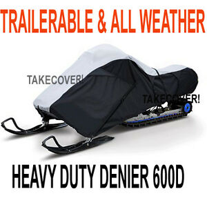 Deluxe-Trailerable-All-Weather-Snowmobile-Cover-Large-2-persons-Heavy-Duty-600D