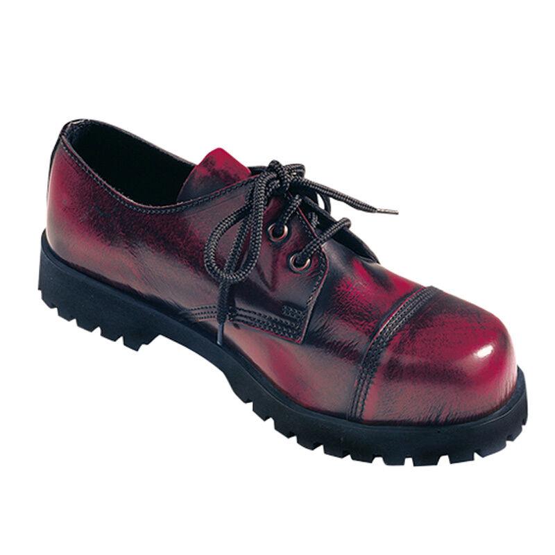 Boots & Braces 3-Loch Halbschuh Rub-Off-Stahlkappe-Gothic-Boots-Schraubsohle