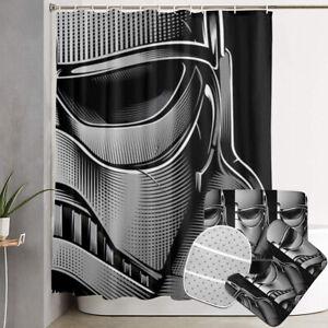 Star Wars Darth Vader Bathroom Non-Slip Rugs Shower Curtains Toilet Lid Mat 4PCS