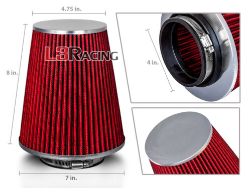 """RED 4 Inches 4/"""" Inlet 102mm Cold Air Intake Cone TRUCK FILTER For Subaru Scion"""