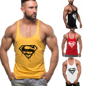 Men-039-s-Gym-Bodybuilding-Tank-Top-Fitness-Muscle-Sleeveless-Cotton-T-shirt-Vest