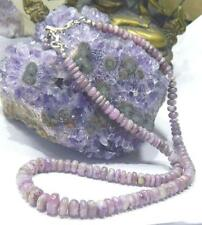 RARE NATURAL PURPLE PINK AFRICAN SUGILITE BEADs .925 NECKLACE 5-8.5mm 128ctw