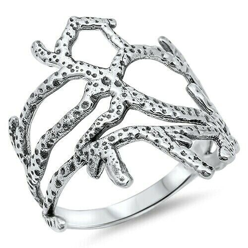 Coral Reef Ring Genuine Sterling Silver 925 Jewelry Face Height 19 mm Size 8