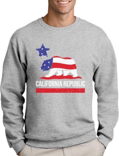 California Republic Bear American Flag Sweatshirt 4th of July
