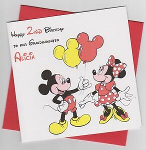 Image Is Loading Personalised Handmade Minnie Amp Mickey Mouse Birthday Card