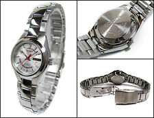 Seiko 5 Automatic Ladies Watch Silver and Red Dial 21 Jewels SYMC21K1 UK Seller