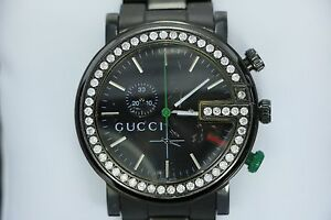 db6d31c3670 Men s Gucci 101M Chrono Stainless Steel 1.84ct Diamond Bezel Black ...