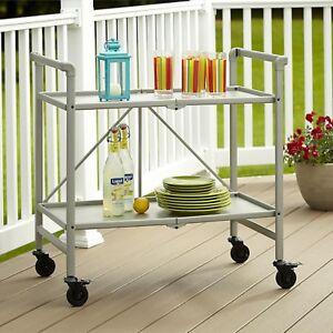 serving cart with wheels folding metal rolling server kitchen patio rh ebay com char-broil patio kitchen bar kit patio kitchen bar ideas