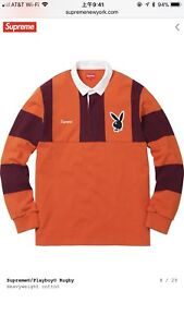 61c2f3946a2 Image is loading Supreme-Playboy-Rugby-Orange-Large