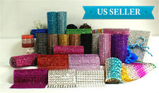 "4.75"" 1-10 Yards Diamond Mesh Wrap Roll Crystal Rhinestone Sparkle Bling Ribbon"
