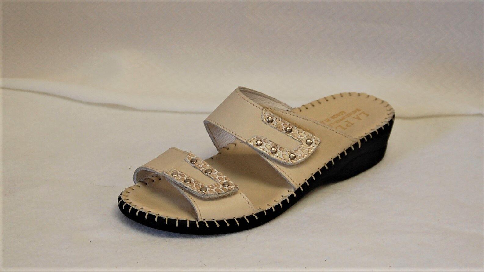 La Plume Brooke Double Strap Bone Leather wedge heel slide Euro 40