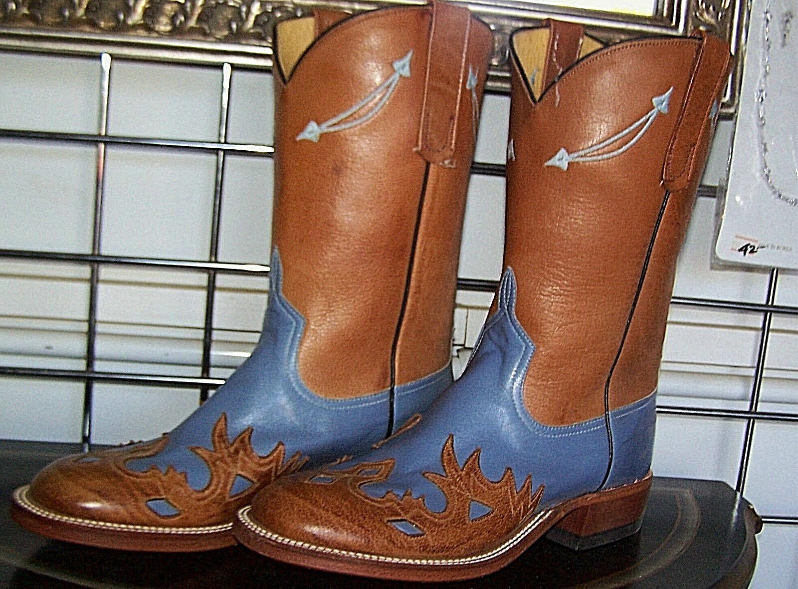 Anderson Bean Bellflower Blue Tan Wingtip Cowboy Boots 6 B fits Ladies 7 - 7-1/2