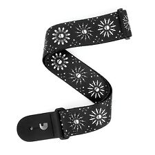 D'Addario Planet Waves Woven Guitar Strap - leather end ; Skull Burst Black