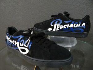 online retailer e0ee6 3fefd Details about Puma Suede Classic X Pepsi Men's Black Suede 366332 02 Shoes  Size 10