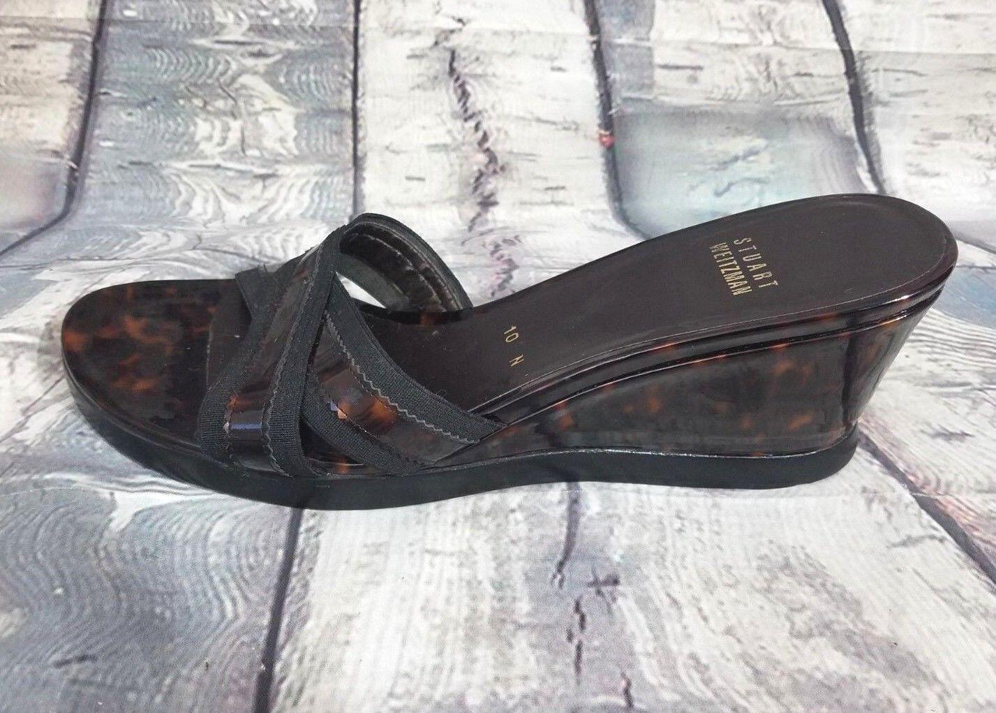 Stuart Weitzman Spain Patent Leather Tortoise Shell Slip On Wedge Sandals 10N