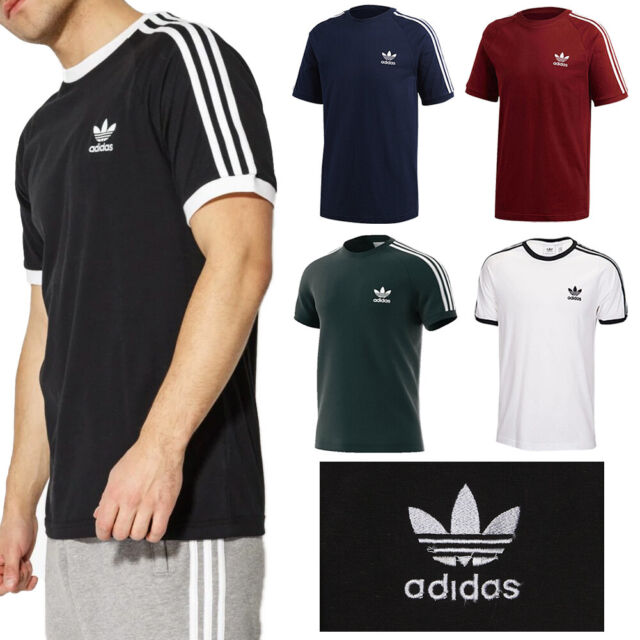 03403e3af31e9 adidas Originals Retro 3 Stripe T-shirt in White & Red - California Tee  Trefoil S for sale online | eBay