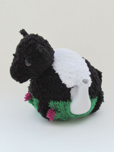 Beltie TEA COSY Tejer patrón a tejer su propio con cinturón Galloway Vaca Cubre Tetera