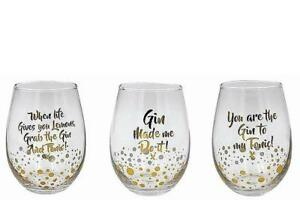 57a6602a7fb Set Of 3 Fun Gin And Tonic Mixer Tumbler Stemless Glasses Cocktail ...